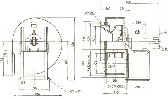 和岳�y/d�/c_4-68 № 6.3 c(d) 离心通风机安装及外形尺寸图